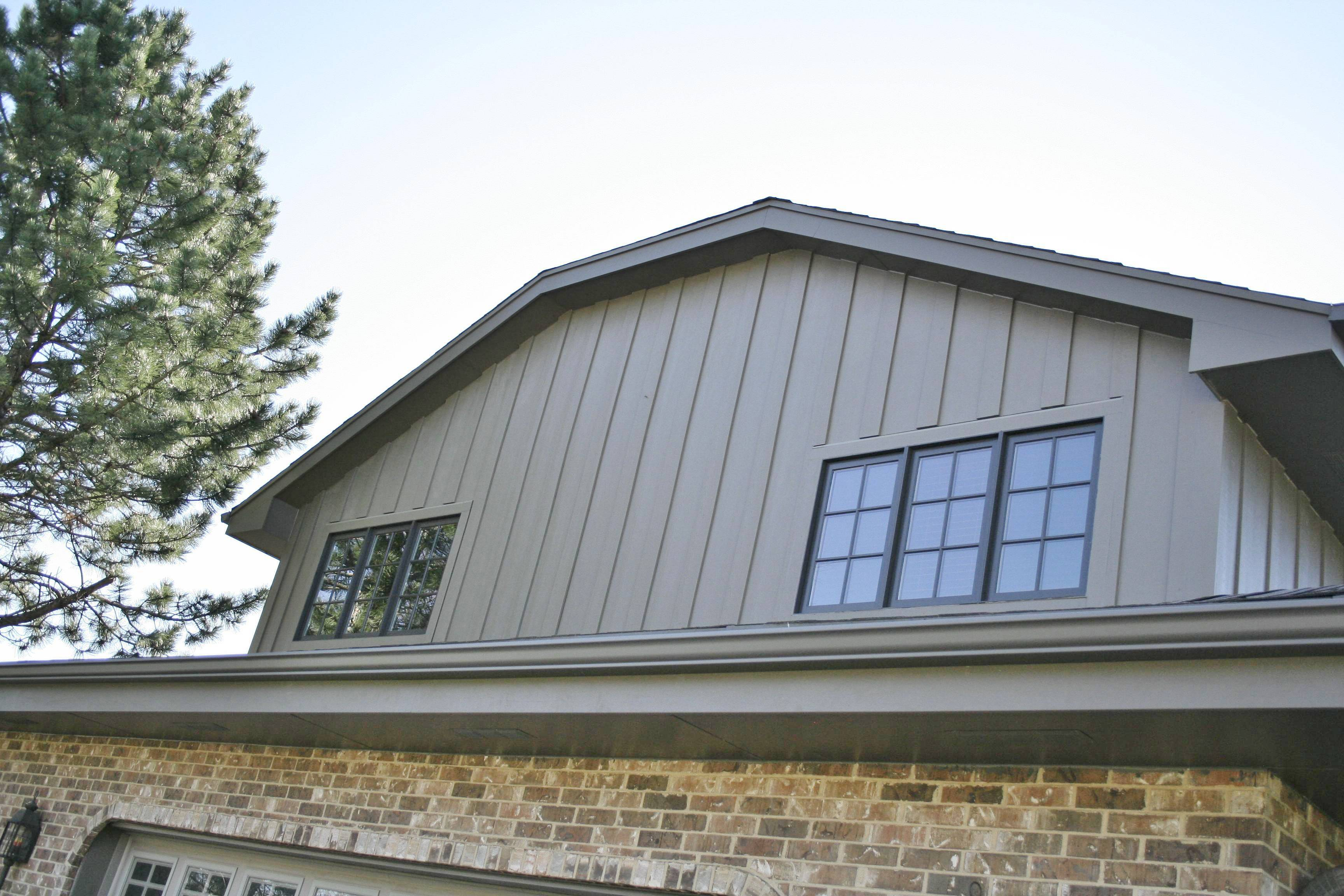 Vertical Siding Using Harpanel Timberbark Fiber Cement With Alside Aluminum Gutters In Orland Park