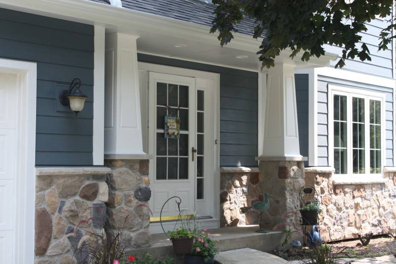 James Hardie Evening Blue Amp Arctic White With Andersen