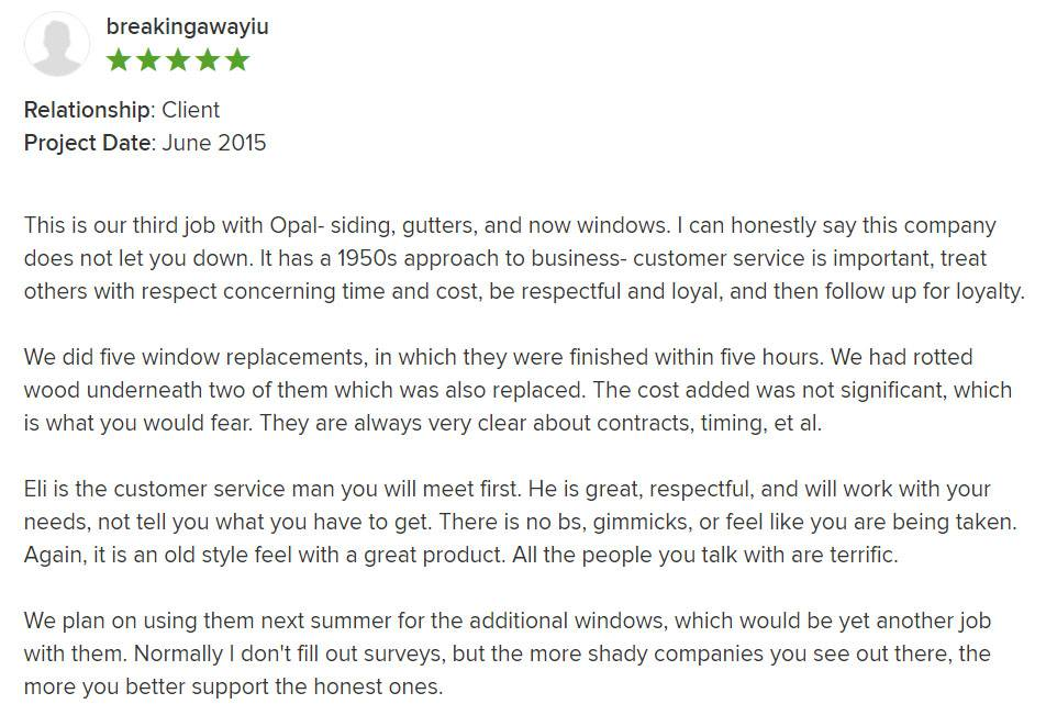 5 Star review of Naperville siding, gutters, and windows project.