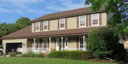 Here's a siding replacement in Wheaton where we installed James Hardie fiber cement siding in the Khaki Brown color.