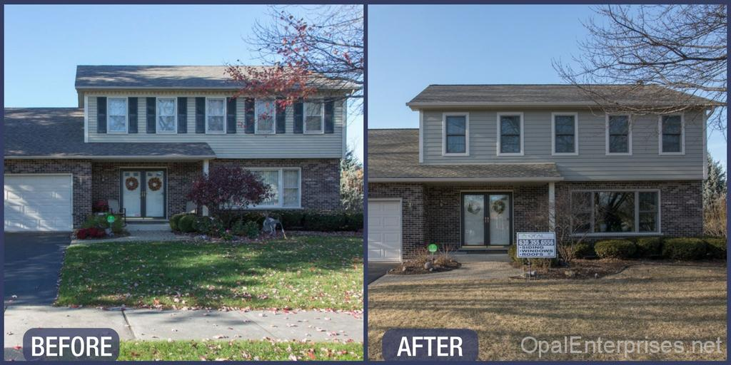 Before & After Naperville Home Renovation - New siding, windows, and roof
