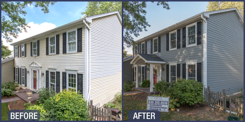 Before and After siding and window replacement in Naperville