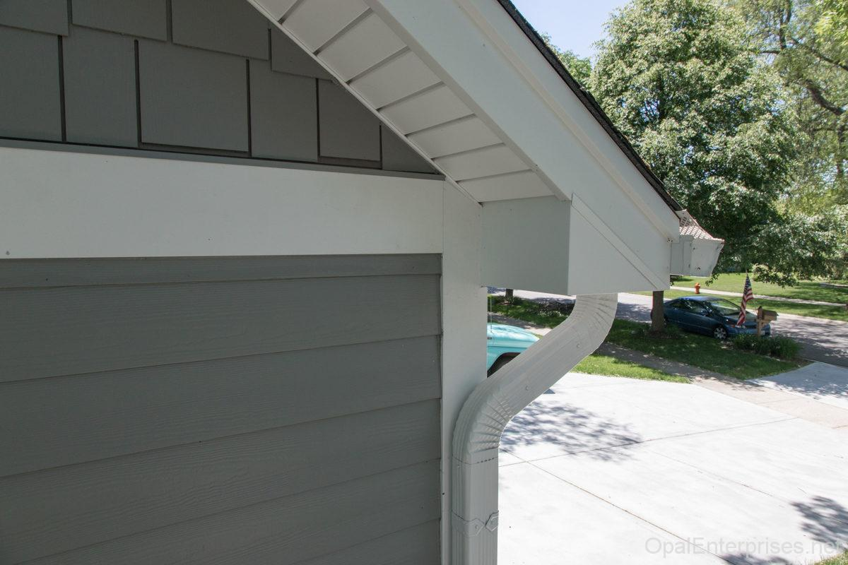 James Hardie Fiber Cement Siding in Gray Slate plank & shake styles with Arctic White Trim