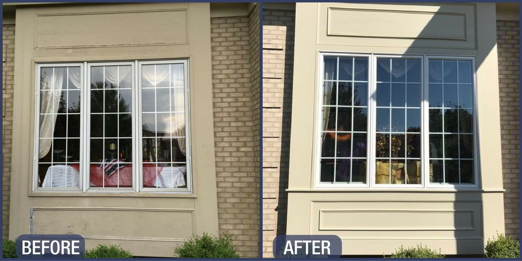 Before & After Andersen Window Replacement in Naperville with decorative trim work